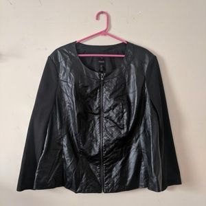Black jacket, faux leather.